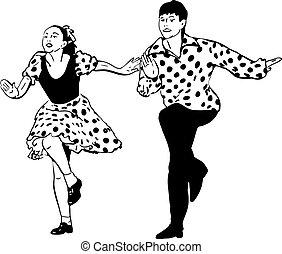 tipo, con, un, niña, bailando, rock and roll