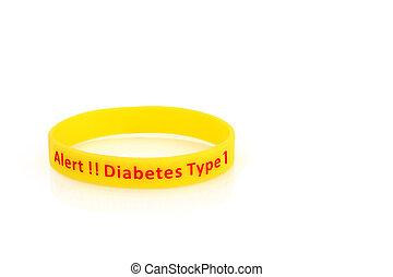 tipo, diabetes, 1, amarillo, alarma, wristband