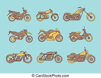 tipo, diferente, ícones, motocicletas