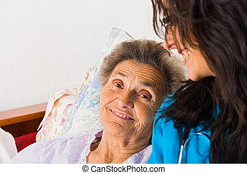 tipo, enfermeira, com, idoso