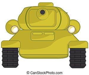 tipo, frontal, ilustração, caricatura, tanque, vetorial