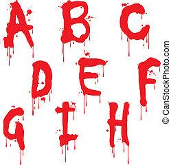 tipo, h, vernice, lettera, bagnato, font
