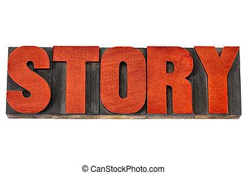 tipo, historia, madera, palabra, texto impreso