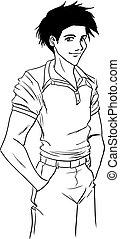 tipo, jeans, camicia, giovane