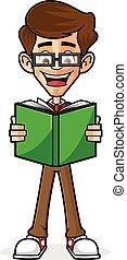 tipo, libro, lettura, nerd