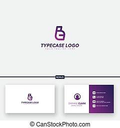 tipo, logotipo, caso, cartão, c, negócio, projetos, inicial, t