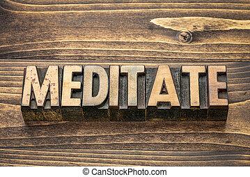tipo, madeira, palavra, medite
