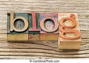 tipo, madera, palabra, blog