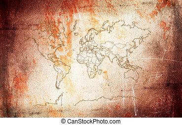 tipo, mondo, antico, map.