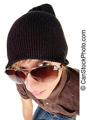 tipo, occhiali da sole, giovane