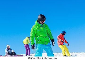 tipo, paseos, en, un, snowboard
