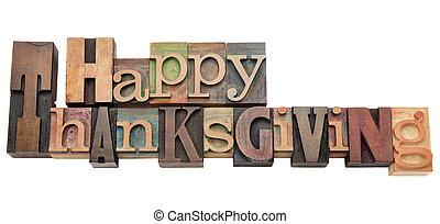 tipo, ringraziamento, letterpress, felice