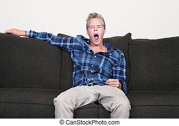 tipo, sbadigliare, divano