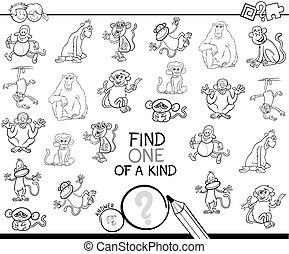 tipo, scimmia, colorare, uno, gioco, libro