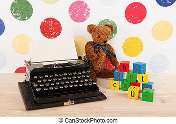 tipo, scrittore, e, giocattoli annata
