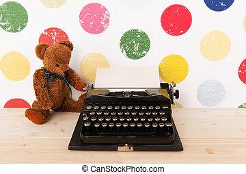 tipo, scrittore, e, vendemmia, orso