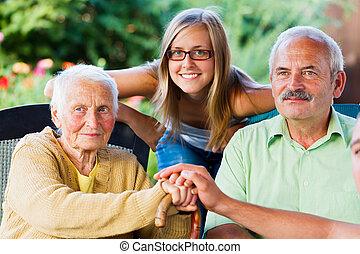 tipo, signora, famiglia, anziano, visitare