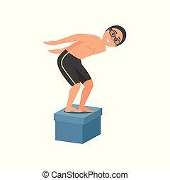 tipo, standing, su, blocco di partenza, a, piscina, e, pronto, a, jump., giovane, in, swimwear, googles, e, silicone, cap., appartamento, vettore, disegno