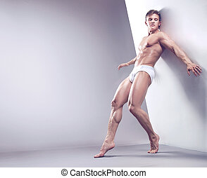 tipo, studio, muscolare, bello