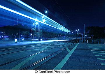 tipo, trasporto, luce, kong., hong, rotaia