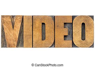 tipo, vídeo, madeira, palavra