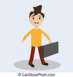 tipo, vettore, suitcase., illustration., allegro