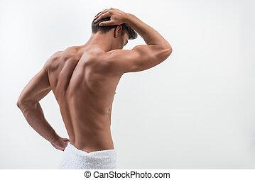 tipo, vista, retro, muscolare, charmant