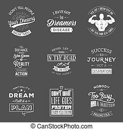tipográfico, conjunto, motivación, quotes., vendimia