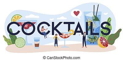 tipográfico, coquetéis, bebidas, preparar, header., alcoólico, barman