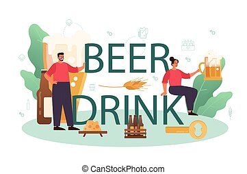 tipográfico, header., arte, jarra, botella de vidrio, cerveza, vendimia