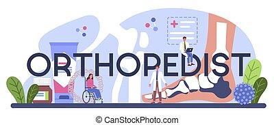 tipográfico, header., doctor, coyuntura, orthopedist, idea