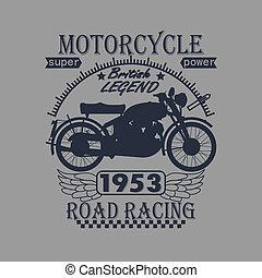 Tipografía, Camiseta, diseño, motocicleta, etiqueta, gráficos, carreras