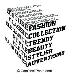 tipografía, con, moda, términos