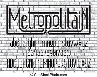 tipografía, metropolitain, font., minimalistic