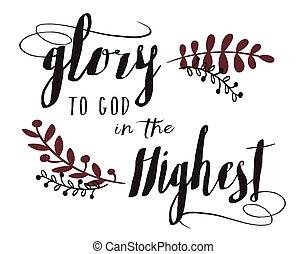 tipografia, il più alto, gloria, arte, disegno, dio