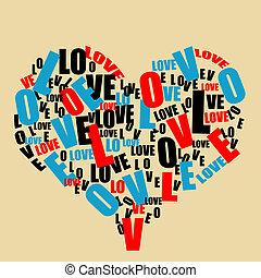 tipografia, retro, amare cuore
