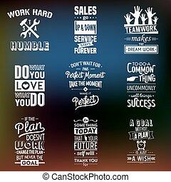 tipografico, affari, set, motivazione, quotes., vendemmia