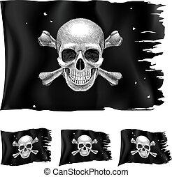 tipos, bandera, tres, pirata