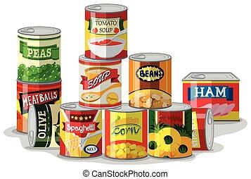 tipos, conservado, diferente, alimento
