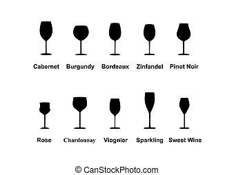 tipos, de, gafas vino, conjunto, icons., vector, ilustración
