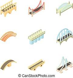 tipos, de, puentes, iconos, conjunto, caricatura, estilo
