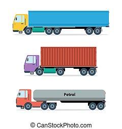 tipos, três, caminhões, isolado