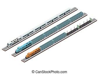 tipos, trem, vário, pista, circuitos