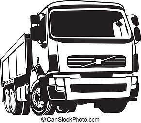 tipper - black and white vector image of a truck, dump truck