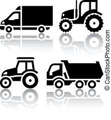 tipper, conjunto, iconos, -, transporte, tractor