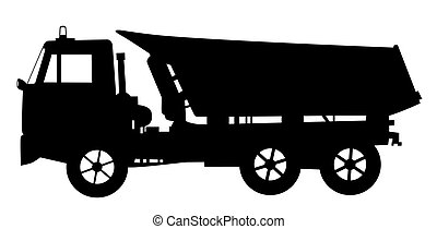 Illustration silhouette of a tipper dump truck. Isolated white background. EPS file available.