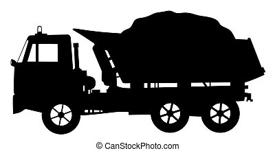Illustration silhouette of a tipper dump truck loaded. Isolated white background. EPS file available.