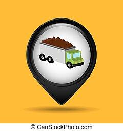 tipper, grafico, carreggiare trasporto, icona