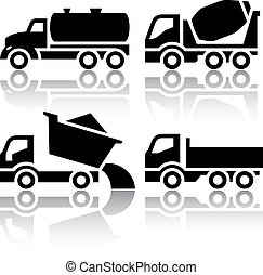 tipper, set, iconen, -, mixer, beton, truck transport