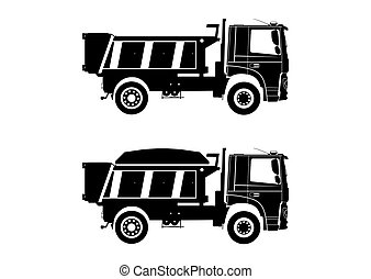 Tipper truck. Dumpers silhouettes on a white background with...